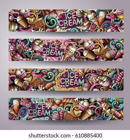 Cartoon cute colorful vector hand drawn doodles ice cream corporate identity. 4 horizontal banners design. Templates set