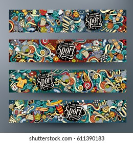 Cartoon cute colorful vector hand drawn doodles Sport corporate identity. 4 horizontal banners design. Templates set