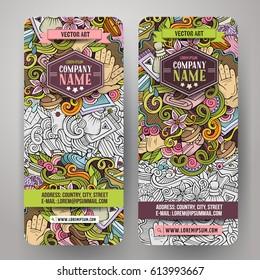 Cartoon cute colorful vector hand drawn doodles Massage salon corporate identity. 2 vertical banners design. Templates set
