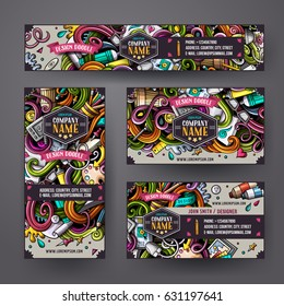 Cartoon cute colorful vector hand drawn doodles design corporate identity set. Templates design of banners, id cards, flayers.