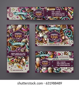 Cartoon cute colorful vector hand drawn doodles ice cream corporate identity set. Templates design of banners, id cards, flyer