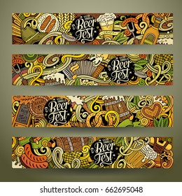 Cartoon cute colorful vector hand drawn doodles Octoberfest corporate identity. 4 horizontal banners design. Templates set