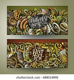 Cartoon cute colorful vector hand drawn doodles Beer fest corporate identity. 2 horizontal Oktoberfest banners design. Templates set