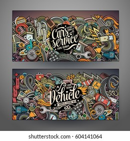 Cartoon cute colorful vector hand-drawn doodles Automobile corporate identity. 2 horizontal banners design. Templates set