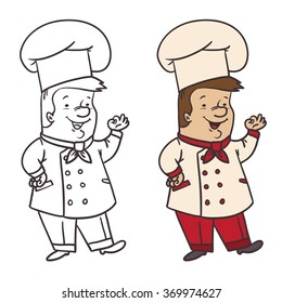Cartoon cute cook chef. Vector illustration.