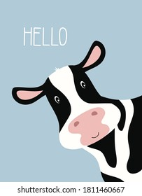 cartoon cute cow girl and inscription Hello, greeting card with charming pet on blue background, vector illustration