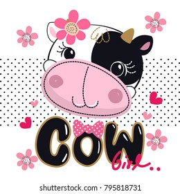 Cartoon cute cow head with pink flower on polka dot background illustration vector.