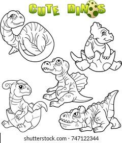 Cartoon Cute Dinosaurs Set Of Images