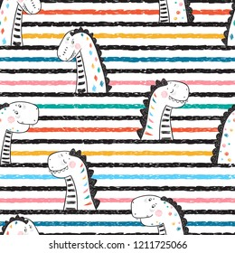 Cartoon Cute Dinosaurs Vector Seamless pattern for Children. Childish Striped Background with Doodle Dinosaur. Animal vector illustration. Design for kids
