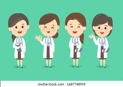 Cartoon Cute Doctor Team Vector