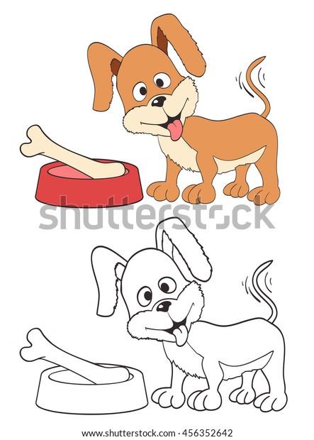Cartoon Cute Dog Bone Coloring Version Stock Vector Royalty Free 456352642