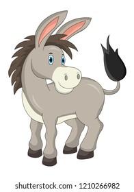 Cartoon cute donkey isolated on white background