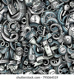 Cartoon cute doodles Automotive seamless pattern. Monochrome detailed, with lots of objects background. All objects separate. Backdrop with car parts symbols and items