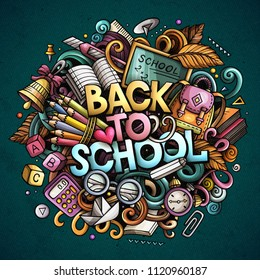 Cartoon cute doodles Back to School phrase. Colorful illustration. Background with lots of separate objects. Funny vector artwork