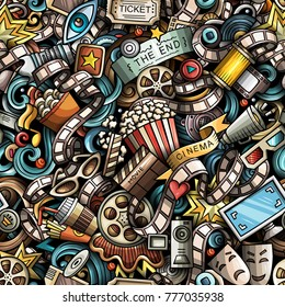 Cartoon cute doodles Cinema seamless pattern. Colorful illustration with lots of objects. All items separated. Background with movie symbols and elements