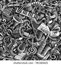 Cartoon cute doodles Classical music seamless pattern. Monochrome detailed, with lots of objects background. All elements separate. Backdrop with musical instruments objects