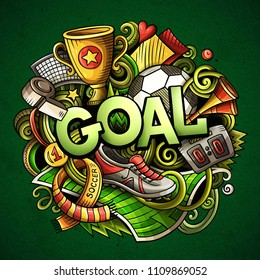 Cartoon cute doodles Goal word. Colorful illustration. Background with lots of separate objects. Funny vector artwork
