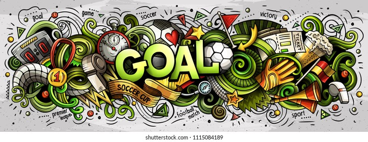 Cartoon cute doodles Goal word. Colorful horizontal illustration. Background with lots of separate objects. Funny vector artwork