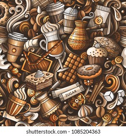 Cartoon cute doodles hand drawn Coffee Shop seamless pattern. Colorful detailed, with lots of objects background. Endless funny vector illustration. All objects separate.