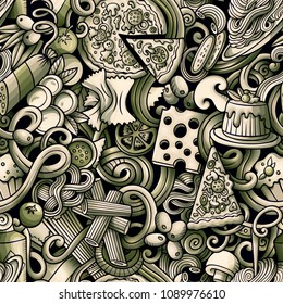 Cartoon cute doodles hand drawn Italian Food seamless pattern. Monochrome detailed, with lots of objects background. Endless funny vector illustration. All objects separate.