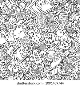 Cartoon cute doodles hand drawn Pizza seamless pattern. Line art detailed, with lots of objects background. Endless funny vector illustration. All objects separate.