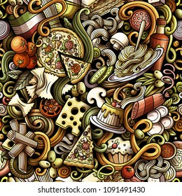 Cartoon cute doodles hand drawn Italian Food seamless pattern. Colorful detailed, with lots of objects background. Endless funny vector illustration. All objects separate.
