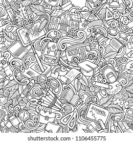 Cartoon cute doodles hand drawn School seamless pattern. Line art detailed, with lots of objects background. Endless funny vector illustration. All objects separate.