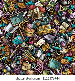 Cartoon cute doodles hand drawn School seamless pattern. Colorful detailed, with lots of objects background. Endless funny vector illustration. All objects separate.