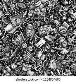 Cartoon cute doodles hand drawn School seamless pattern. Monochrome detailed, with lots of objects background. Endless funny vector illustration. All objects separate.