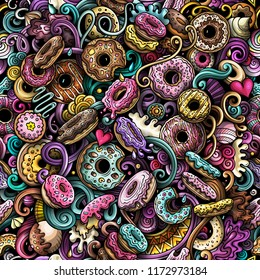 Cartoon cute doodles hand drawn Donuts seamless pattern. Colorful detailed, with lots of objects background. Endless funny vector sweet illustration. All objects separate.