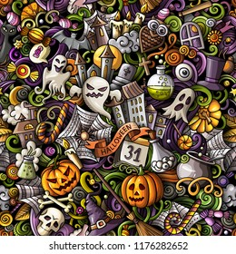 Cartoon cute doodles hand drawn Halloween seamless pattern. Colorful detailed, with lots of objects background. Endless funny vector illustration. All objects separate.