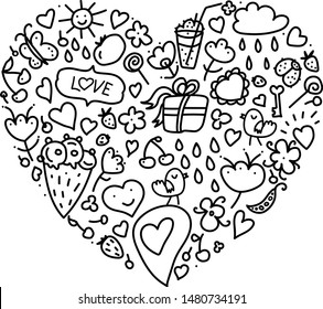 Cartoon cute doodles hand drawn Valentines Day heart frame design. Line art detailed, with lots of objects background. Funny vector illustration. Sketchy border with Love theme items