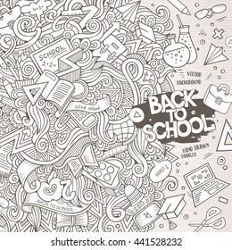 Cartoon cute doodles hand drawn school frame design. Line art detailed, with lots of objects background. Funny vector illustration. Sketched border with education theme items
