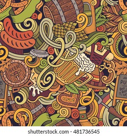 Cartoon cute doodles hand drawn Oktoberfest seamless pattern. Colorful detailed, with lots of objects background. Endless funny vector illustration. Bright colors backdrop with beer symbols and items