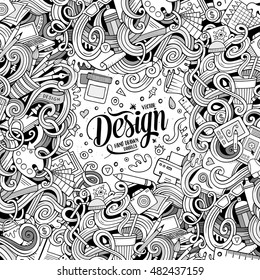 Cartoon cute doodles hand drawn design frame concept. Line art detailed, with lots of objects background. Funny vector illustration. Sketchy border with designer theme items