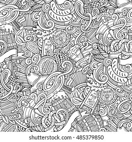 Cartoon cute doodles hand drawn Beer seamless pattern. Line art detailed, with lots of objects background. Endless funny vector illustration. Contour backdrop.