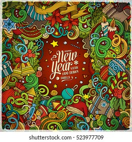 Cartoon cute doodles hand drawn Happy New Year frame design. Colorful detailed, with lots of objects background. Funny vector illustration. Bright colors border with Christmas items