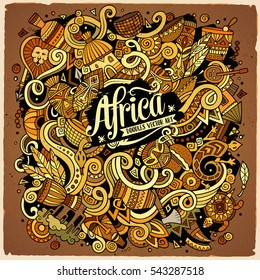 Cartoon cute doodles hand drawn Africa illustration. Colorful detailed, with lots of objects background. Funny vector artwork. Bright colors picture with african theme items