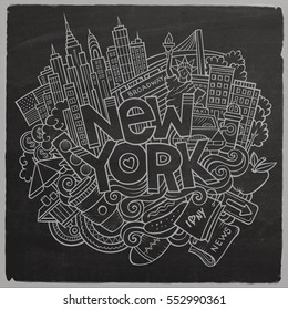 Cartoon cute doodles hand drawn New York inscription. Chalkboard illustration with american theme items. Line art detailed, with lots of objects background. Funny vector artwork