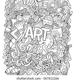 Cartoon cute doodles hand drawn illustration. Bright colors picture with artistic theme items. Doodle inscription Art. Sketchy detailed, with lots of objects background. Funny vector artwork