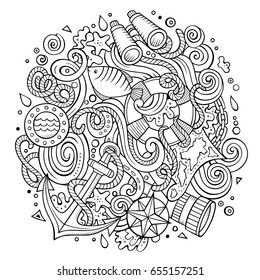 Cartoon Cute Doodles Hand Drawn Nautical Illustration Line Art Detailed With Lots Of Objects