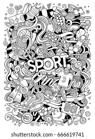 Cartoon cute doodles hand drawn Sport illustration. Line art detailed, with lots of objects background. Funny vector artwork.