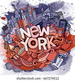 Cartoon cute doodles hand drawn New York inscription. Watercolor detailed illustration. Lots of objects background. Funny vector holiday artwork