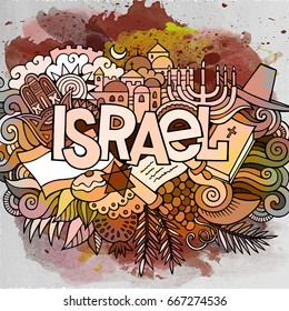 Cartoon cute doodles hand drawn Israel inscription. Watercolor detailed illustration. Lots of objects background. Funny vector holiday artwork