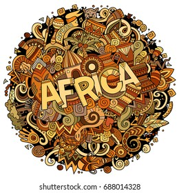 Cartoon cute doodles hand drawn Africa inscription. Illustration with african theme items. Colorful detailed, with lots of objects background. Funny vector artwork