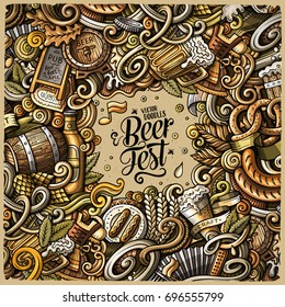 Cartoon cute doodles hand drawn Beer fest frame design. Colorful detailed, with lots of objects background. Funny vector illustration. Bright colors border with Oktoberfest theme items