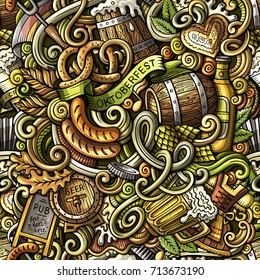 Cartoon cute doodles hand drawn Octoberfest  pattern. Colorful detailed, with lots of objects background. Endless funny vector illustration. Bright colors backdrop with beer symbols and items
