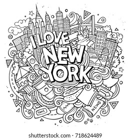 Cartoon cute doodles hand drawn I love New York inscription. Sketch illustration with american theme items. Line art detailed, with lots of objects background. Funny vector artwork