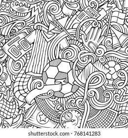 Cartoon cute doodles hand drawn Soccer seamless pattern. Line art detailed, with lots of objects background. Endless funny vector illustration
