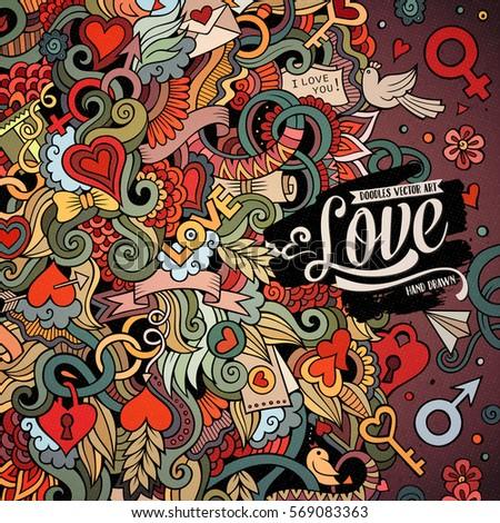Cartoon Cute Doodles Hand Drawn Valentines Stock Vector Royalty